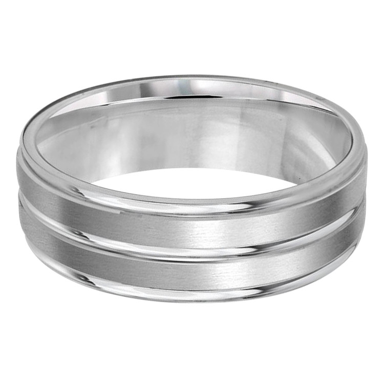 Mens 7 MM all white gold band with satin dual sectioned grooved center (MDVB0209)