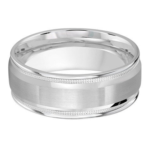 Mens 8 MM all white gold band with a satin center, high polish and milgrain edged detailing (MDVB0220)