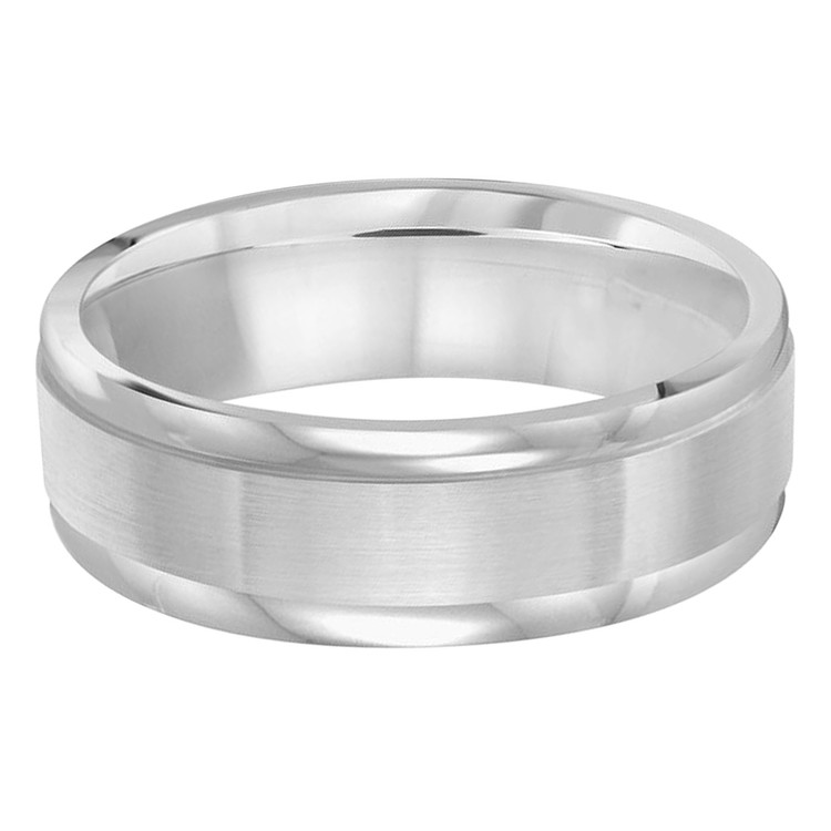 Mens 7 MM all white gold band with satin center and high polish edges (MDVB0222)