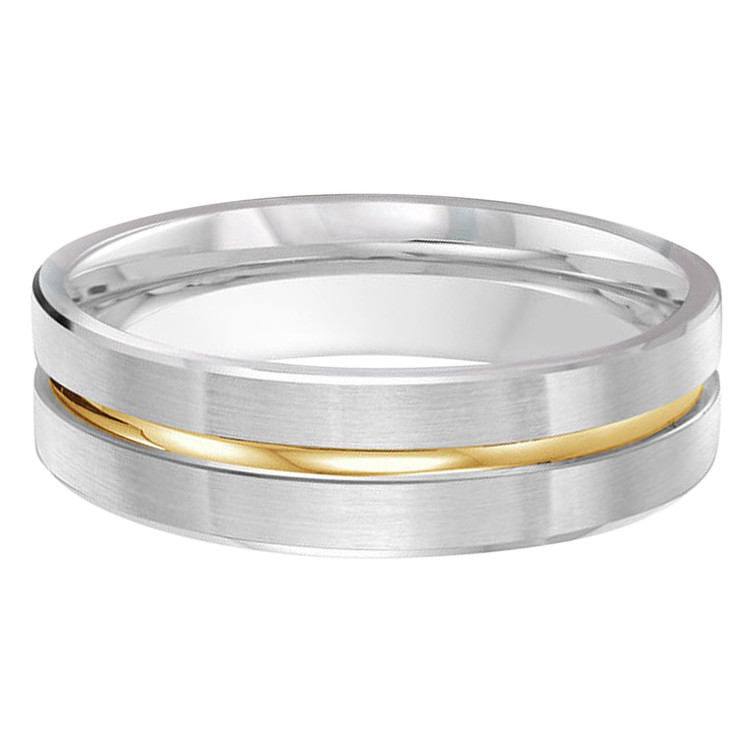 Mens 6 MM two-tone white and yellow gold satin finish band with a high polish center strip (MDVB0229)
