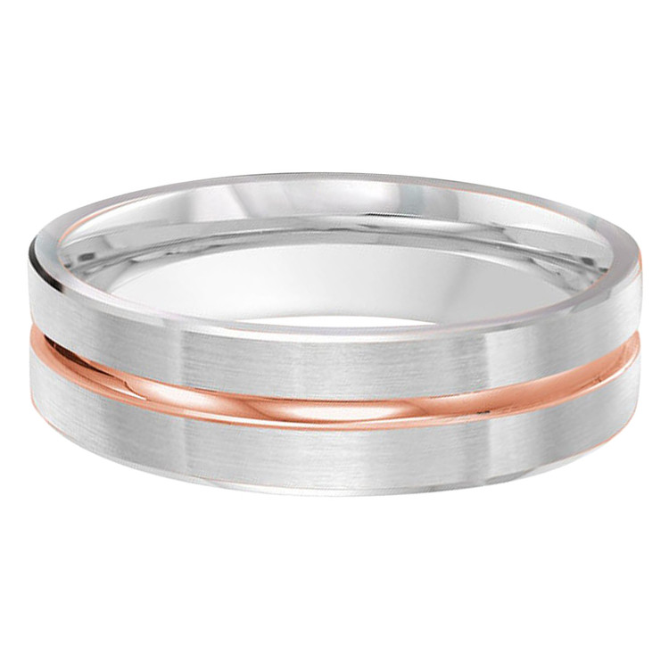 Mens 6 MM two-tone satin finish white gold band with a high polish rose gold center strip (MDVB0230)