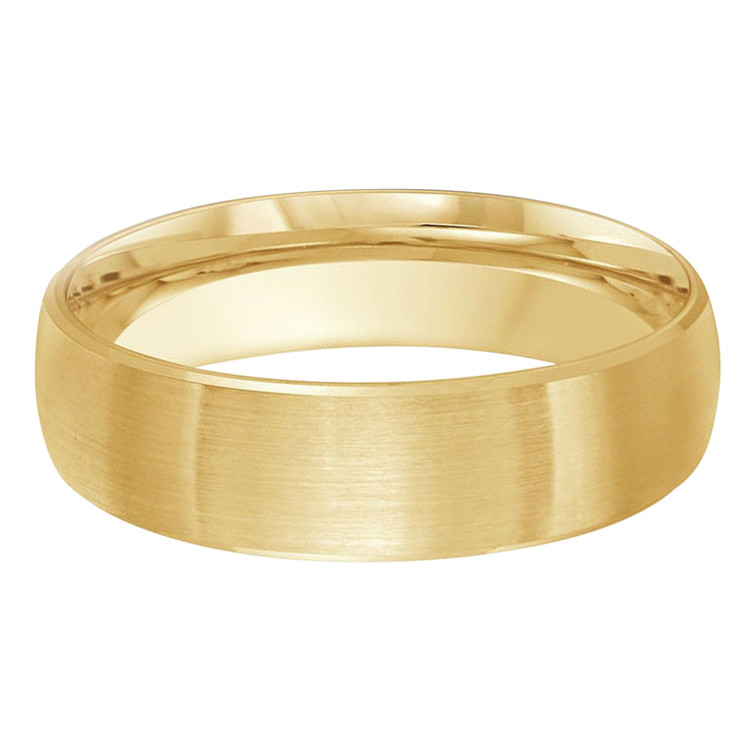 Mens 6 MM satin finish yellow gold dome band (MDVB0234)
