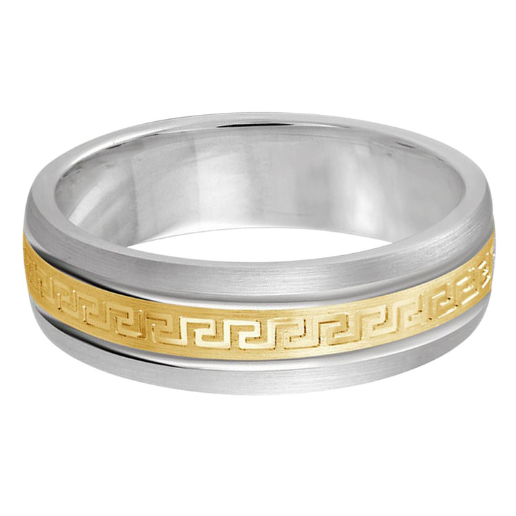 Mens 6 MM two-tone white and yellow gold band with greek key design satin center (MDVB0235)