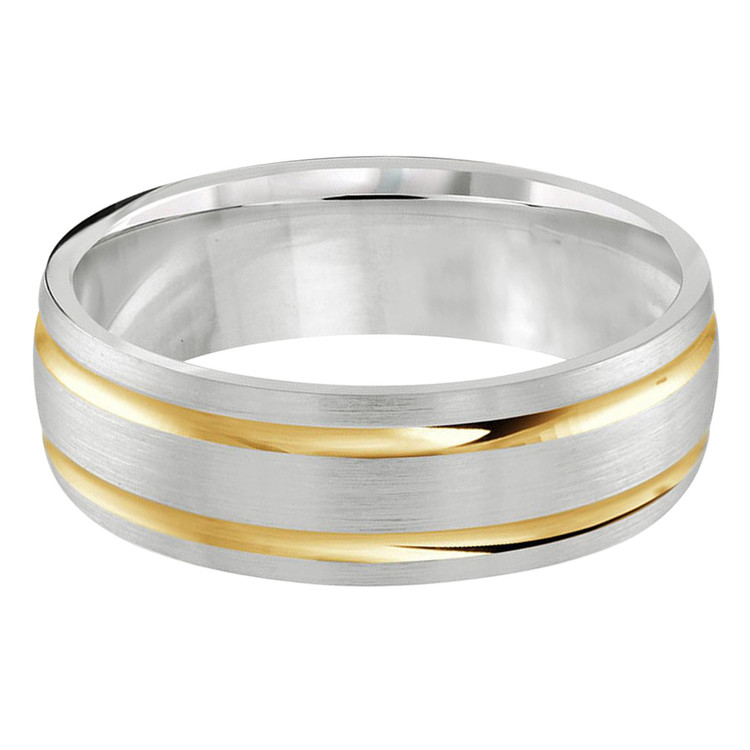 Mens 7 MM two-tone white and yellow gold double grooved satin center band (MDVB0240)