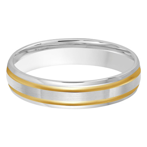 4 MM two-tone white and yellow gold double grooved satin finish band (MDVB0243)