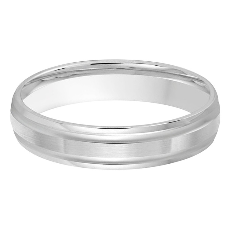 4 MM all white gold double grooved, satin finish band (MDVB0244)