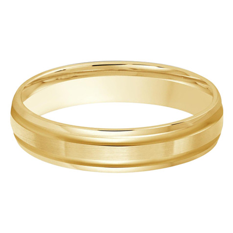 4 MM all yellow gold double grooved, satin finish band (MDVB0245)