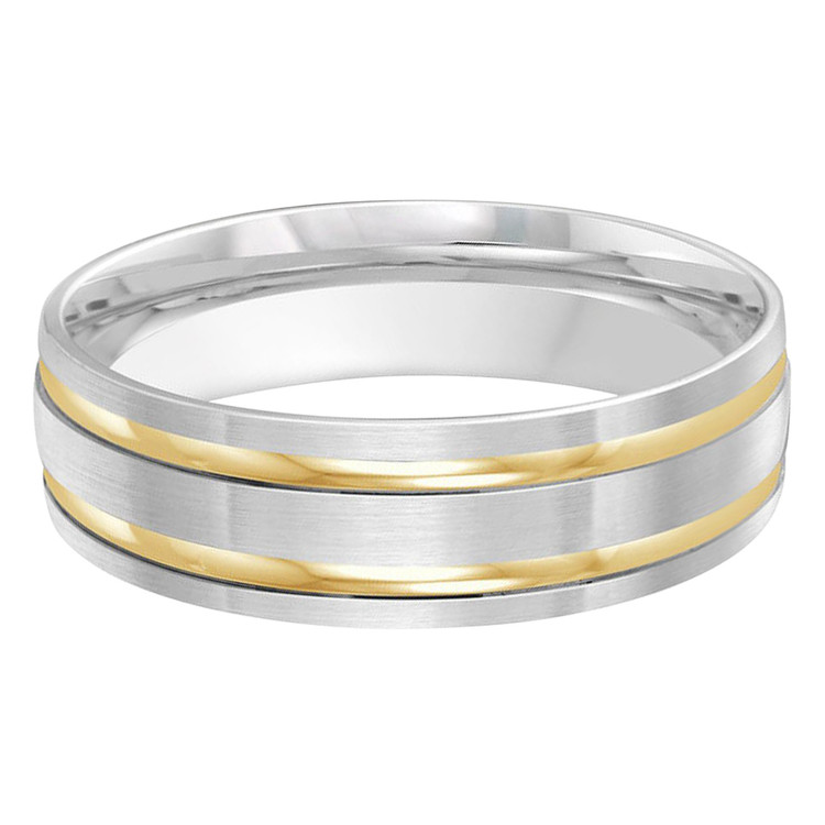 Mens 6 MM two-tone white and yellow gold double grooved satin finish band (MDVB0246)