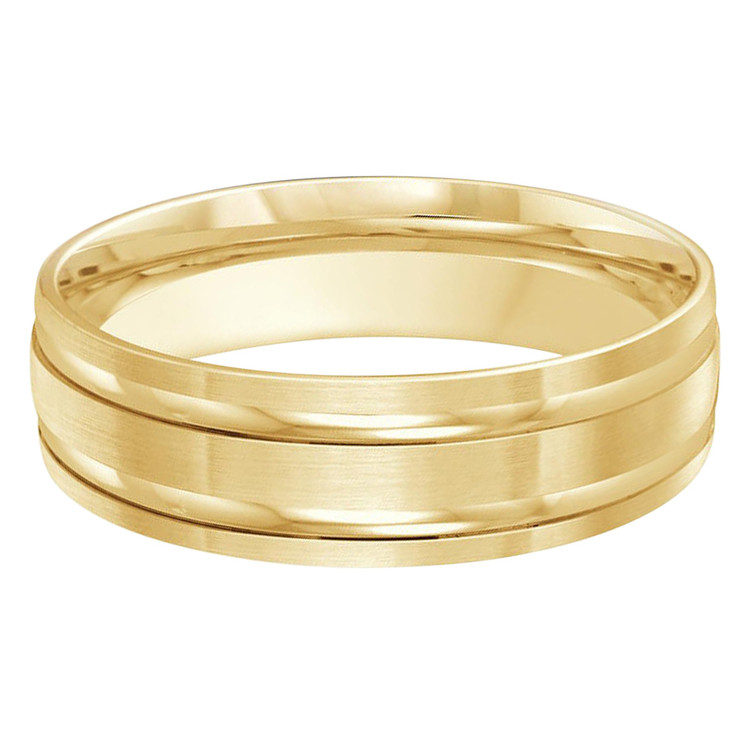 Mens 6 MM all yellow gold double grooved satin finish band (MDVB0248)