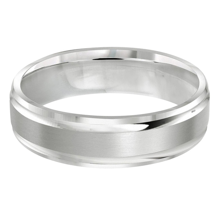 Mens 6 MM all white gold double grooved satin finish band (MDVB0257)