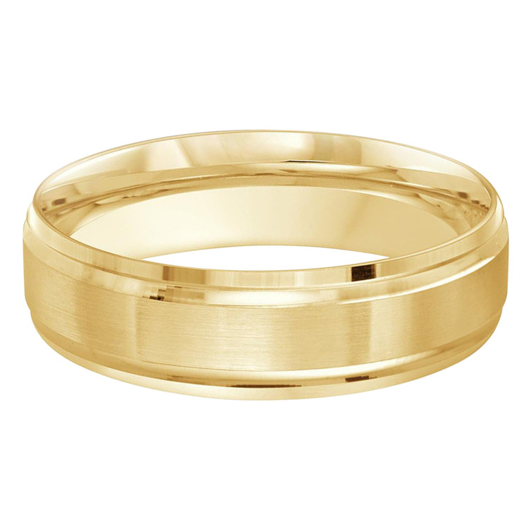 Mens 6 MM all yellow gold double grooved satin finish band (MDVB0258)