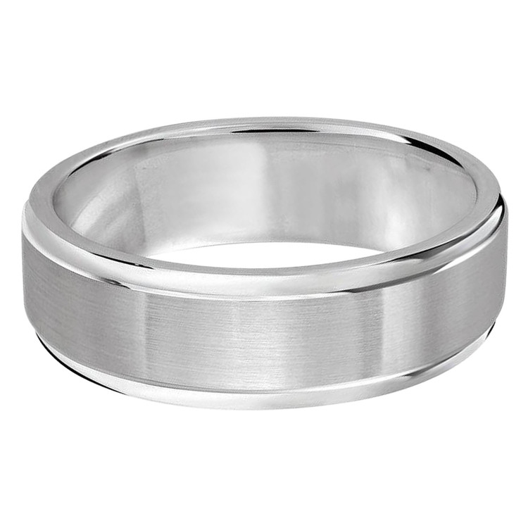 Mens 7 MM all white gold double grooved satin finish band (MDVB0259)