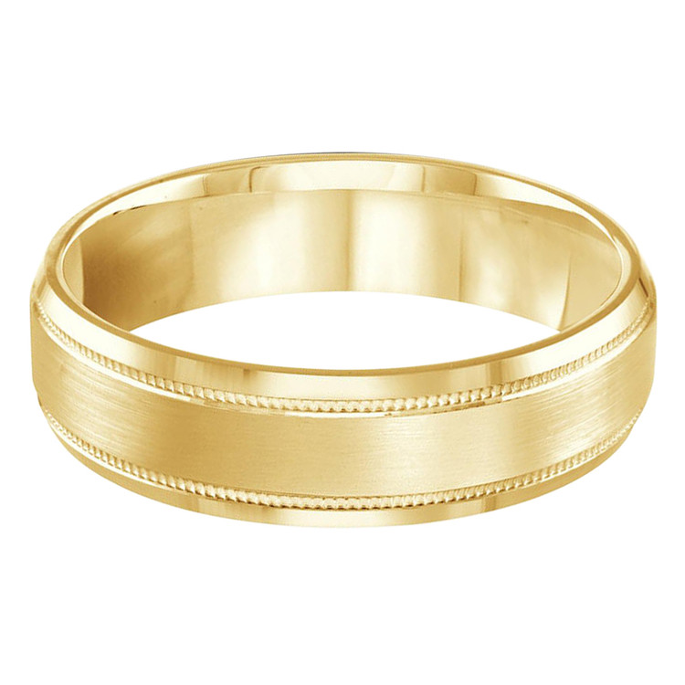 Mens 6 MM all yellow gold milgrain satin finish band with high polish beveled edges (MDVB0262)
