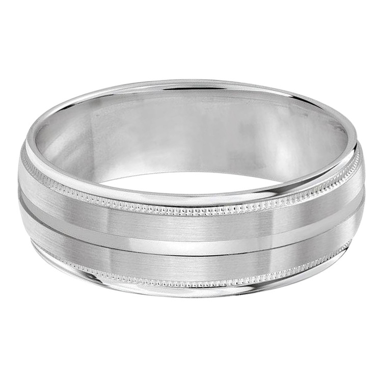 Mens 7 MM all white gold domed band with milgrain edges and a soft satin center strip (MDVB0274)