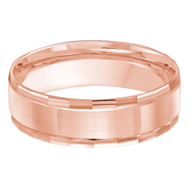 Mens 6 MM all pink gold satin finish center, facet high polish edged band (MDVB0278)