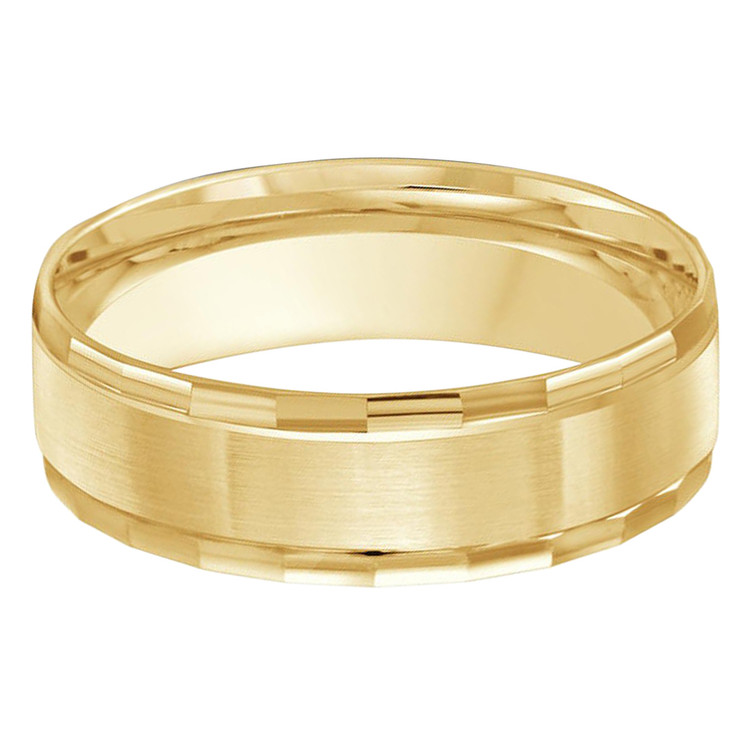 Mens 6 MM all yellow gold satin finish center, facet high polish edged band (MDVB0280)
