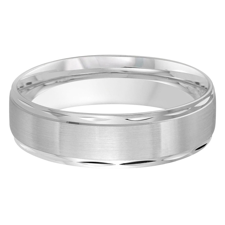 Mens 6 MM all white gold satin finish center band with high polish faceted edges (MDVB0294)