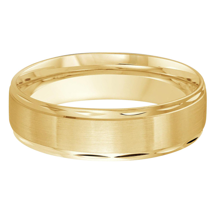 Mens 6 MM all yellow gold satin finish center band with high polish faceted edges (MDVB0295)