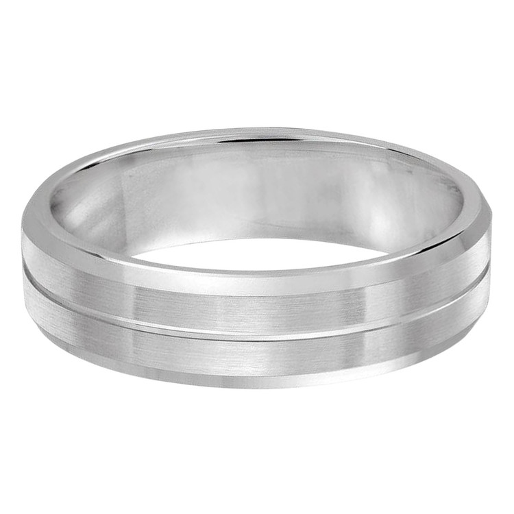 Mens 6 MM all white gold satin finish band with grooved center accent (MDVB0298)