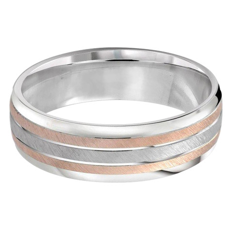 Mens 7 MM two-tone white and rose gold scratch finish band (MDVB0303)
