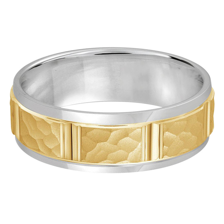 Mens 7 MM two-tone white and yellow gold satin finish hammered center band vertical cut detail (MDVB0313)
