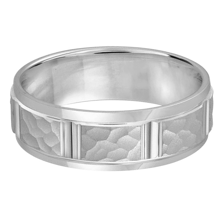 Mens 7 MM all white gold  satin finish hammered center band with vertical cut detail (MDVB0314)