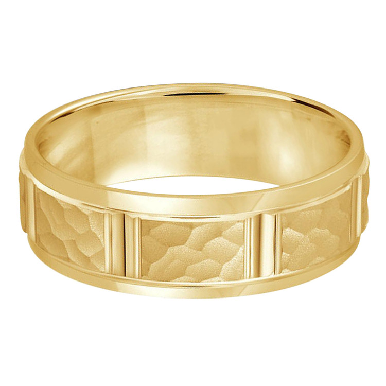 Mens 7 MM all yellow gold satin finish hammered center band with vertical cut detail (MDVB0315)