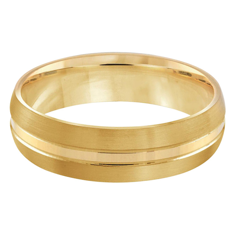 Mens 6 MM all yellow gold satin finish band with a pronounced high polish center strip (MDVB0317)