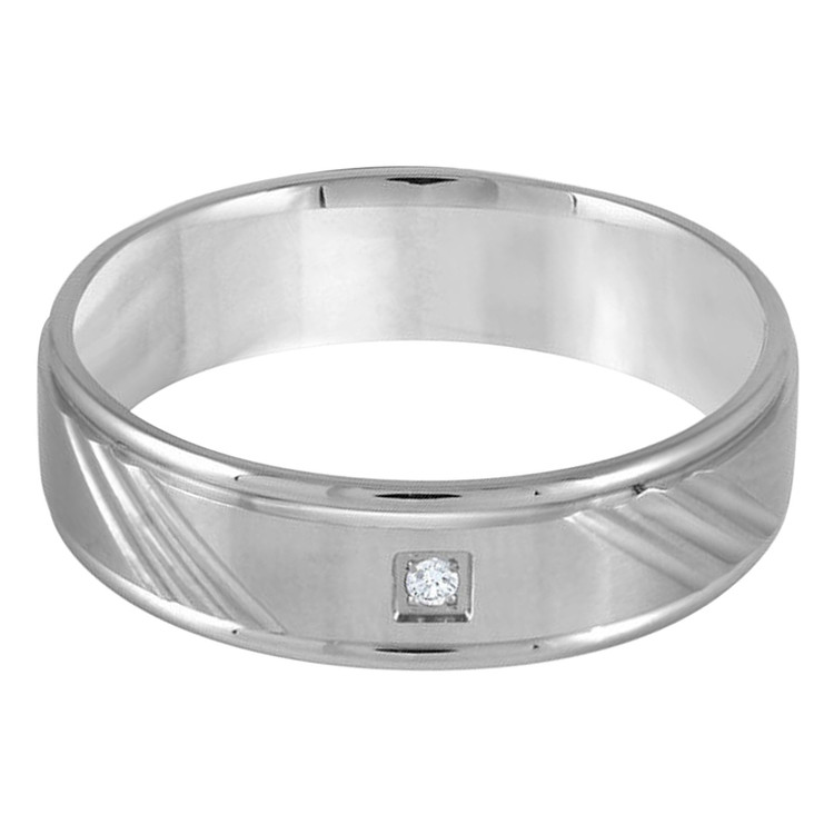 Mens 7 MM white gold angle diamond cut band, embellished with 1 X .03 CT diamond (MDVB0326)