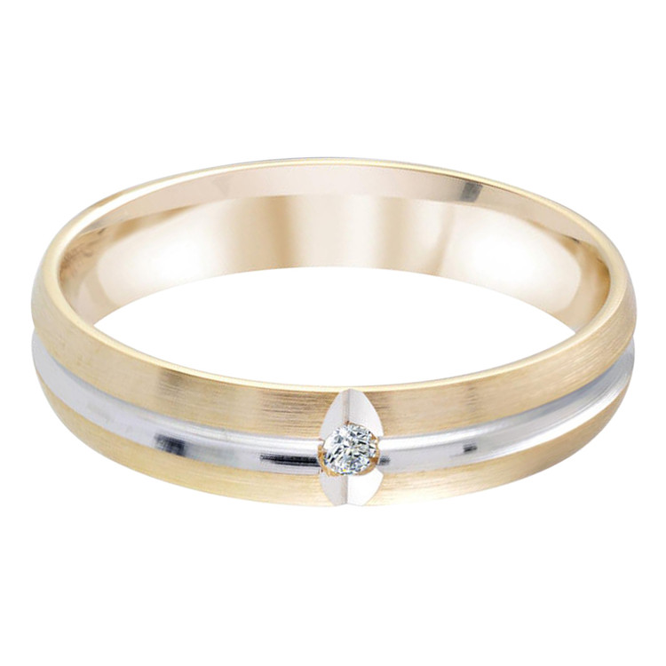 Mens 4 MM two-tone gold satin finish band center groove .02 CT diamond on white leaf accent bed (MDVB0329)