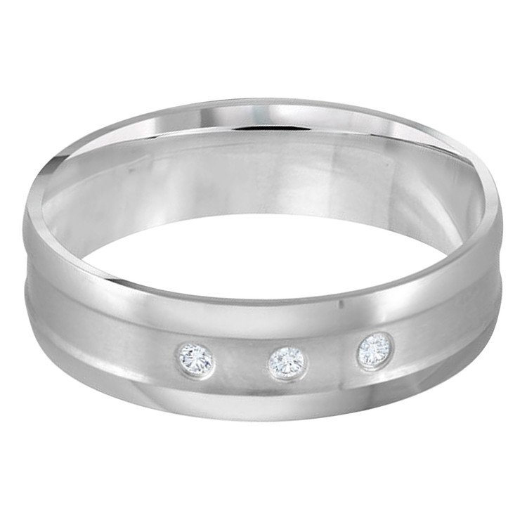 Mens 6 MM all white gold band, embellished with 3 X .015 CT diamonds (MDVB0331)