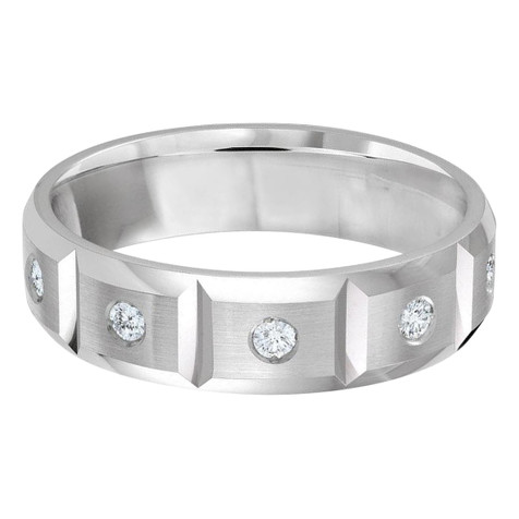Mens 6 MM all white gold vertical grooved band, embellished with 10 X .03 CT diamonds (MDVB0332)