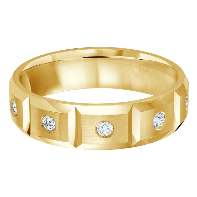 Mens 6 MM all yellow gold vertical grooved band, embellished with 10 X .03 CT diamonds (MDVB0333)