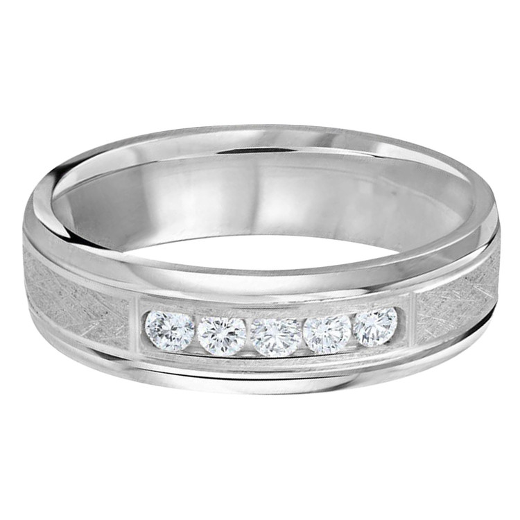 Mens 6 MM all white gold band with scratch center, embellished with 5 X .05 CT diamonds (MDVB0336)
