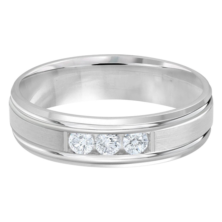 Mens 6 MM all white gold satin center band, embellished with 3 X .07 CT diamonds (MDVB0350)