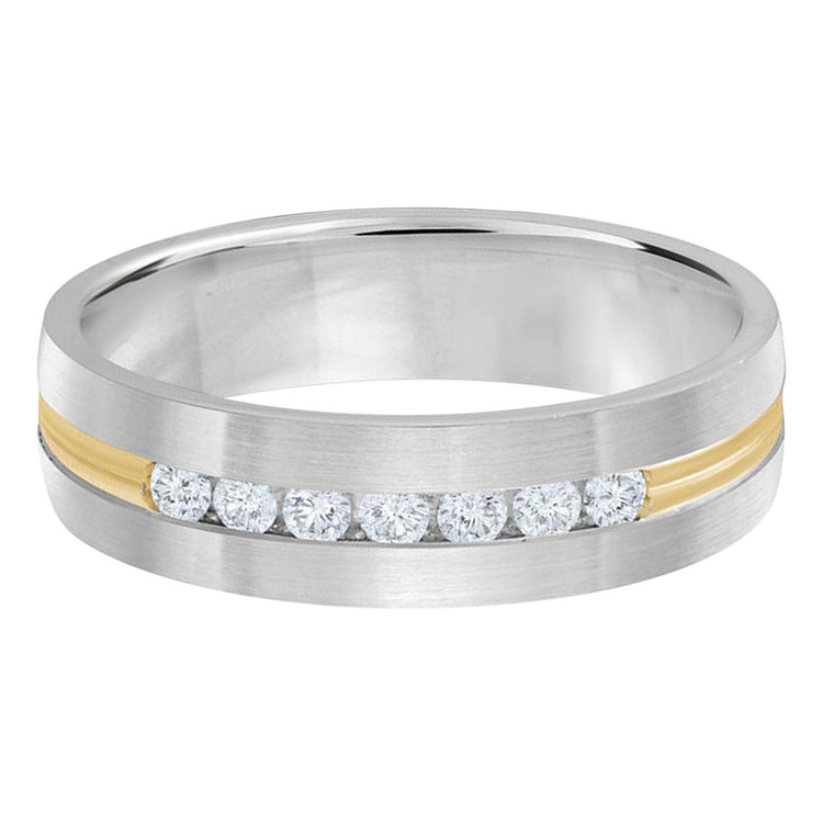 Mens 6 MM two-tone white and yellow gold band, embellished with 7 X .035 CT diamonds (MDVB0351)