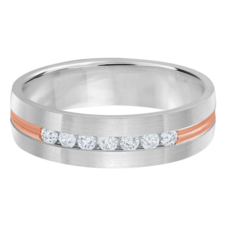 Mens 6 MM two-tone white and pink gold band, embellished with 7 X .035 CT diamonds (MDVB0352)