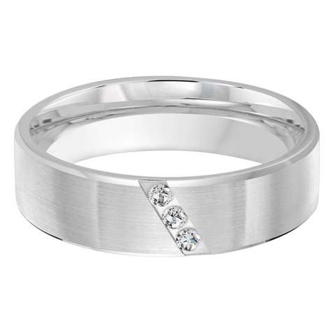 Mens 6 MM all white gold pipe band, embellished with 3 X .02 CT diamonds angle set (MDVB0366)