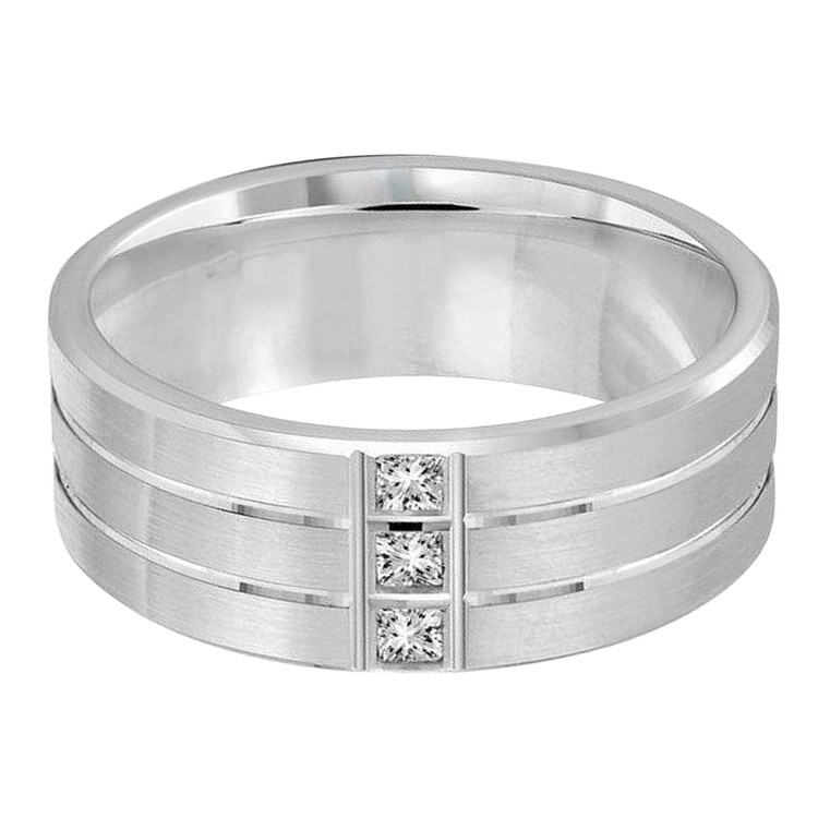 Mens 8 MM white gold double grooved band, embellished with 3 X .05 CT diamonds (MDVB0368)