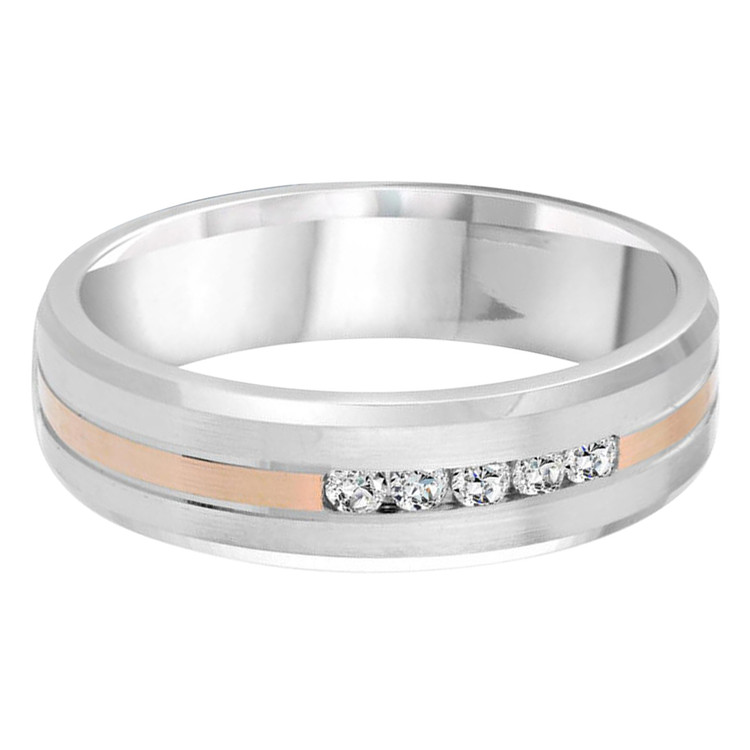 Mens 7 MM two-tone white and rose gold band, embellished with 5 X .05 CT diamonds (MDVB0371)