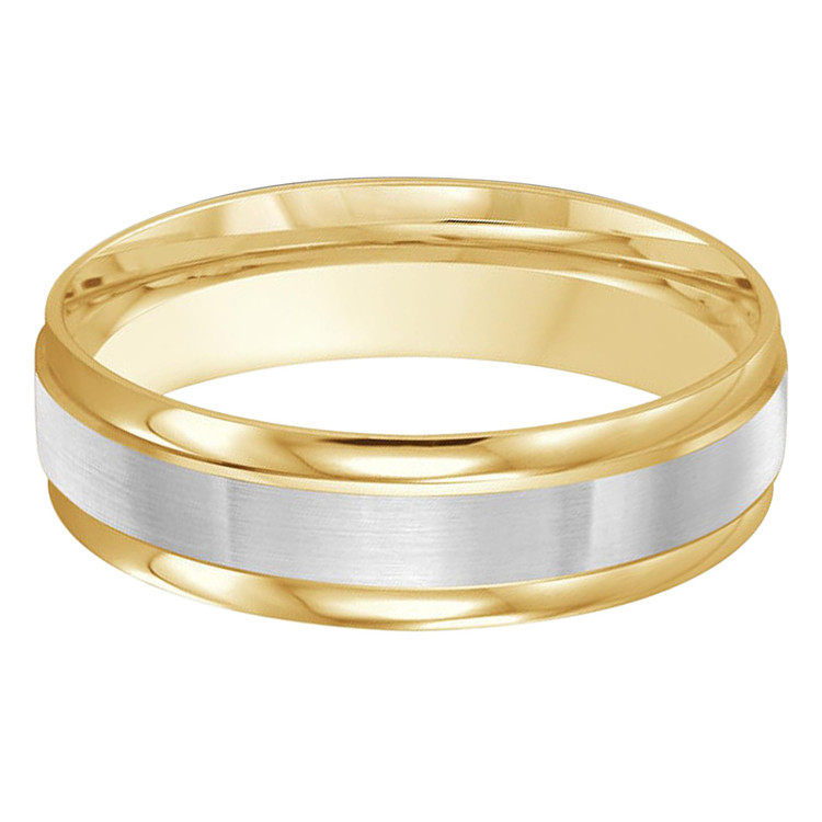 Mens 6 MM two-tone yellow and white gold band with satin center and high polish edges  (MDVB0385)