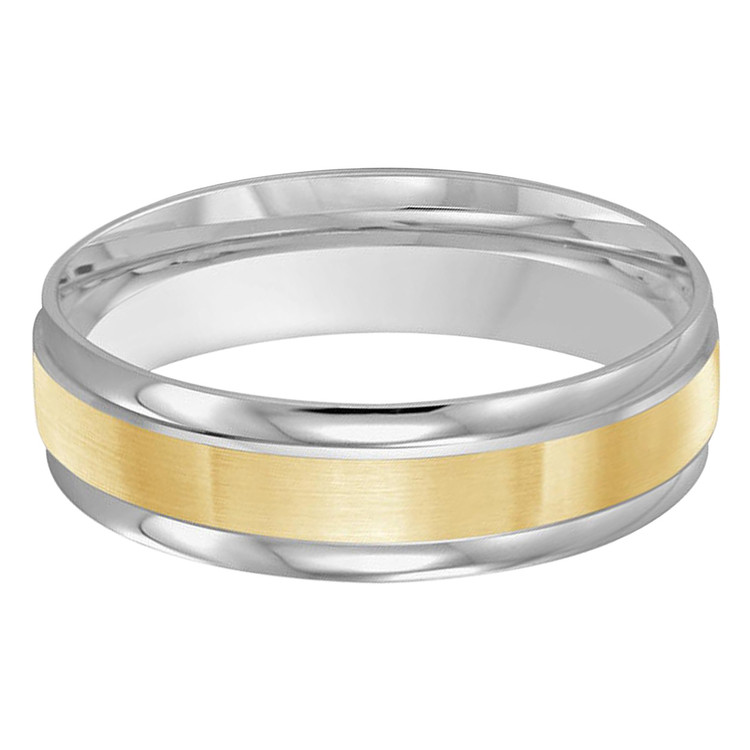 Mens 6 MM two-tone white and yellow gold classic band with satin center and high polish edges (MDVB0386)