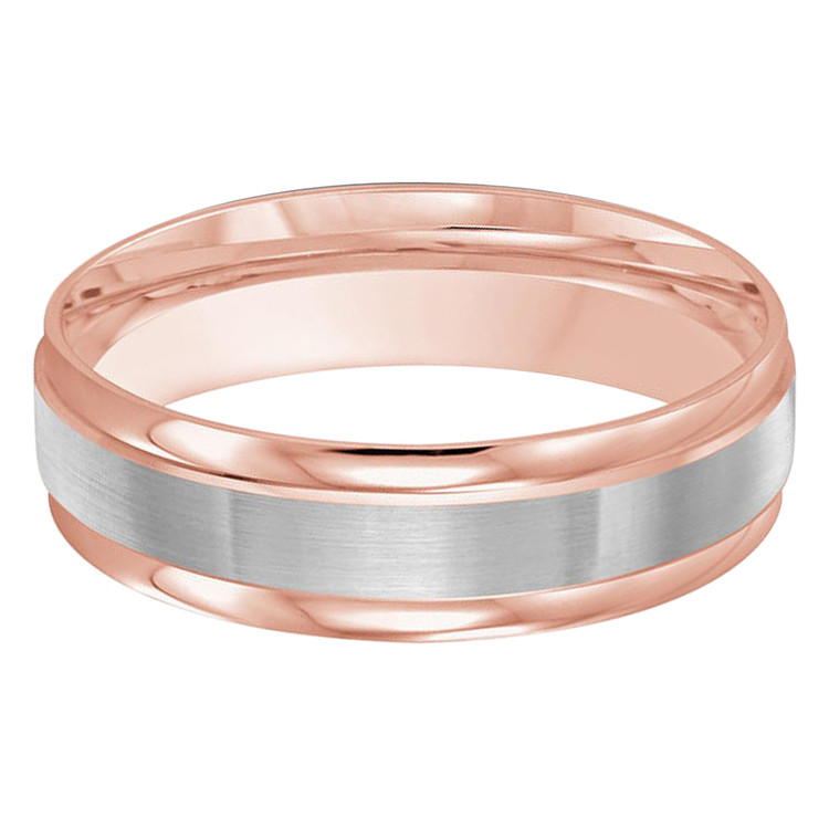 Mens 6 MM two-tone rose and white gold classic band with satin center and high polish edges (MDVB0388)