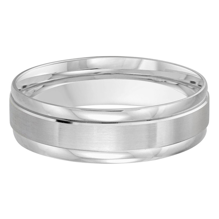 Mens 6 MM all white gold classic band with satin center and high polish edges (MDVB0389)