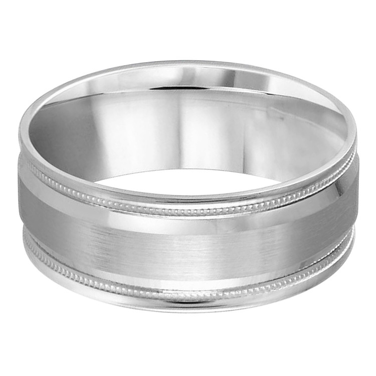 Mens 8 MM all white gold band with satin center, high polish edging with milgrain detailing (MDVB0390)