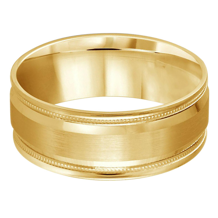 Mens 8 MM all yellow gold band with satin center, high polish edging with milgrain detailing (MDVB0391)