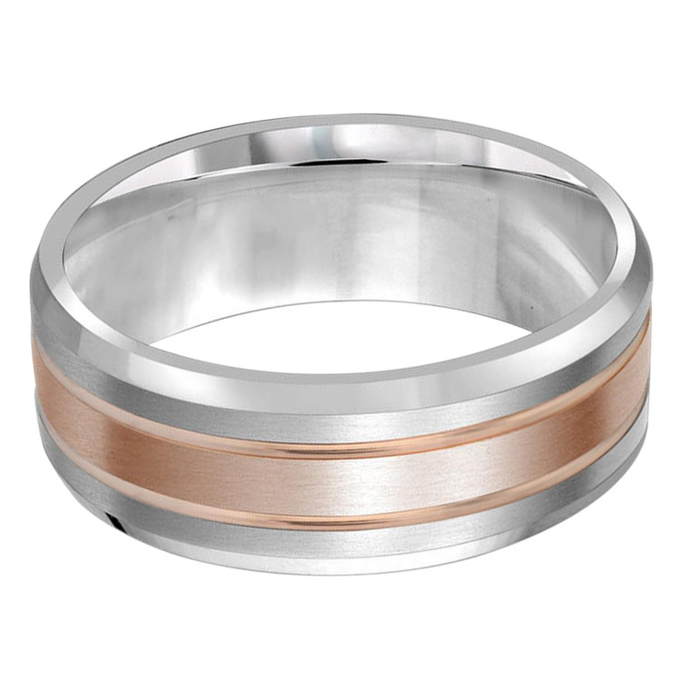 Mens 8 MM two-tone white and rose gold band (MDVB0425)