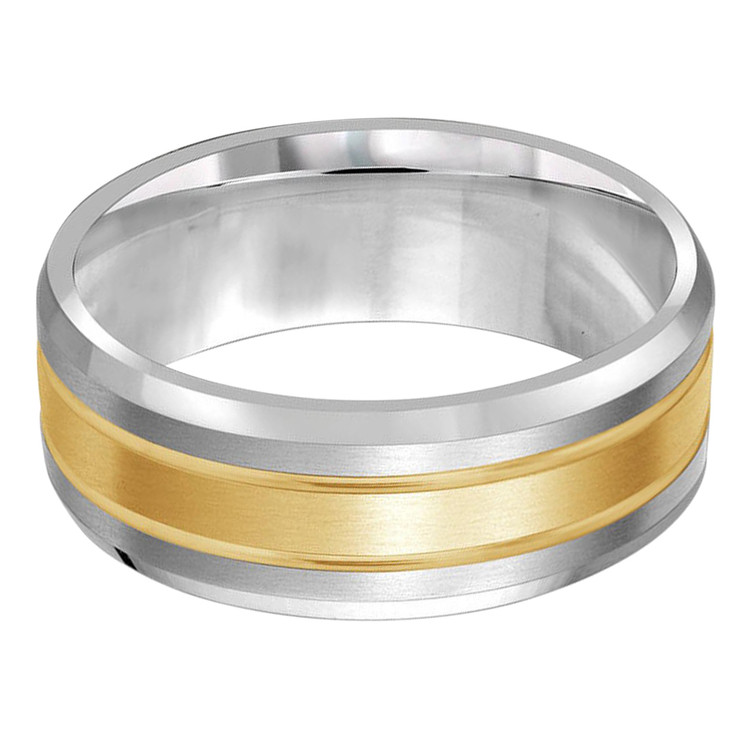 Mens 8 MM two-tone white and yellow gold band (MDVB0426)