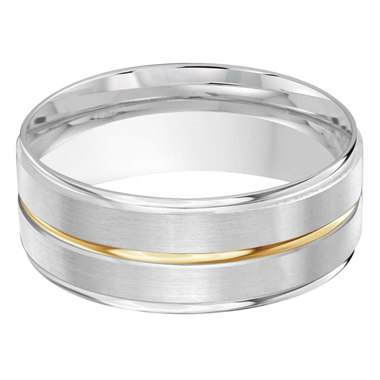 Mens 8 MM two-tone white and yellow gold band (MDVB0429)