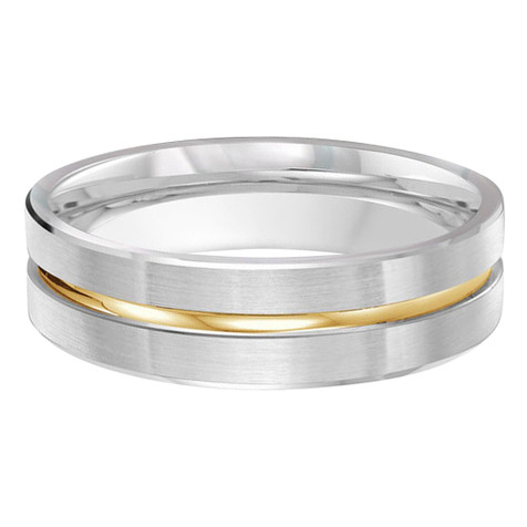 Mens 6 MM two-tone white gold band with high polish yellow gold center groove (MDVB0437)